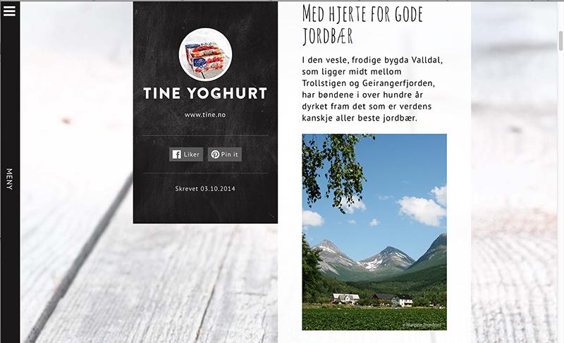 Foto fra Valldal brukt på Tine sin nye blogg, yoghurt.no.