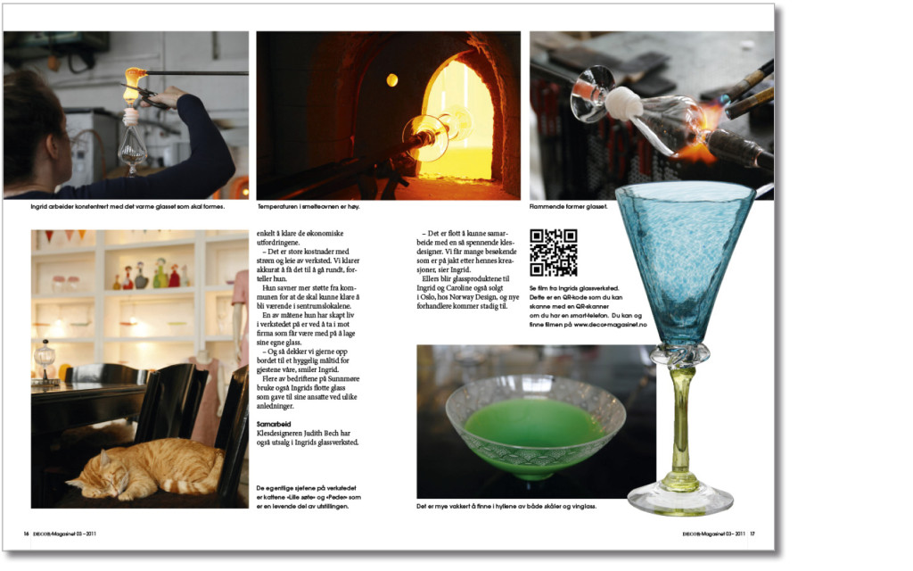 Kombinasjon av artikkel og film. Ved skanning av QR-kode kan leseren se film om glasskunstneren.