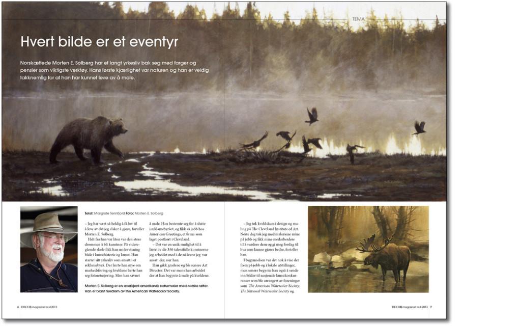 Intervju med naturmaleren Morten E.Solberg i DECOR-magasinet. Tekst og design av Margrete Tennfjord.