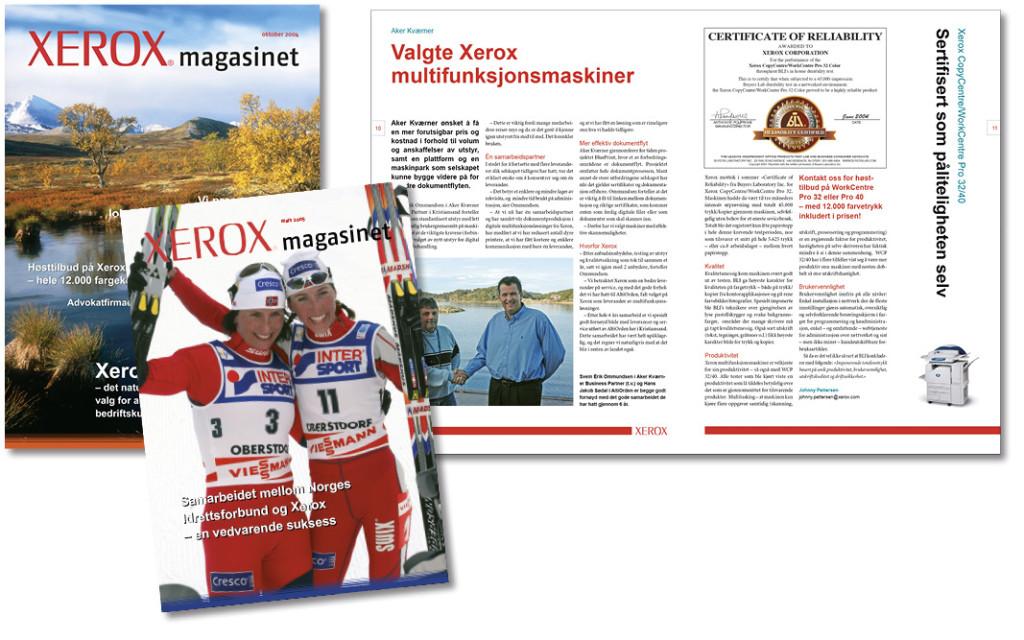 Kundemagasin for Xerox, produsert i 13 ulike lokale varianter av magasinet.